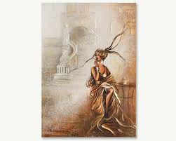 art painting on canvas lady in silver town gold light color