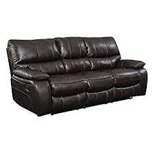 faux leather reclining sofa amazon com bowery hill faux leather reclining sofa in chocolate