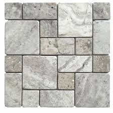 Shop Avenzo Silver Versailles Mosaic Travertine Floor And Wall - Lowes tile backsplash