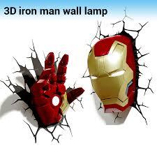 Iron Man Night Light Aliexpress Com Buy Creative Iron Man Shape 3d Wall Lamp Avengers