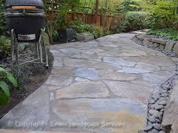 Flagstone Patio On Concrete by Lewis Landscape Services Beaverton Oregon Flagstone Slate