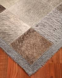 Leather Area Rugs Polo Cowhide Patchwork Leather Rug W Free Rug Pad Natural Fiber