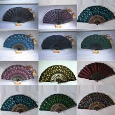 held fan fashion peacock silk folding held fan fan