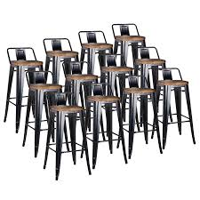 Low Back Bar Stool Metro Modern Low Back Black Wood Bar Stool Eurway