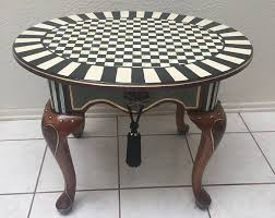 Ceramic Accent Table Whimsical Handpainted Side Accent Table With Mackenzie Childs