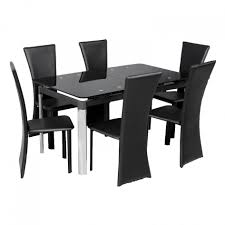 Faux Leather Dining Chairs With Chrome Legs Dining Room Modern Dining Set Design Idea With Glass Top Dining