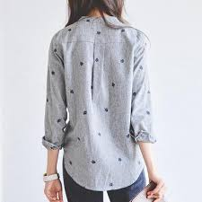 gray blouse leaf embroidered button up blouse fray