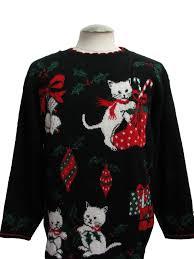 cat tastic ugly christmas sweater nut cracker unisex black