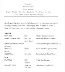 musical theatre resume template this is acting resume builder acting resume template for word