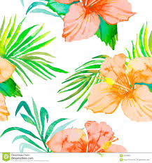 Foliage Flower - hibiscus tropical plants seamless pattern and palm branches