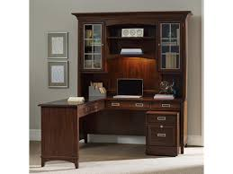 L Shape Desks Furniture Latitude Walnut L Shaped Desk And Hutch Set With