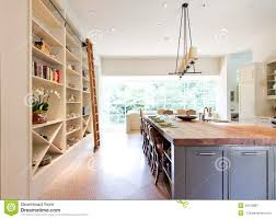 modern kitchen butcher block top island stock photo image 43755867