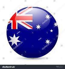 flag australia round glossy icon button stock vector 198125156