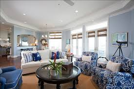 vibrant design blue and white living room all dining room