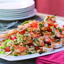 grilled shrimp skewers over white bean salad recipe eatingwell