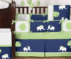 Elephant Crib Bedding For Boys Jojo Design Modern Navy Blue Lime Green White Elephant Baby