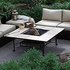 Fire Pit Coffee Table Amazon Com Red Ember Wheatland 50 In Outdoor Square Tile