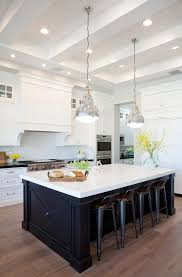 White Kitchen Black Island Black Center Island With Gray Wash Wood Floors Transitional