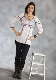 roper women u0027s grey cotton western tunic
