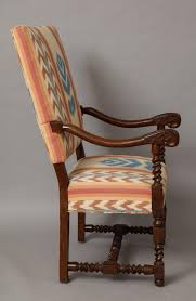 Armchair Upholstered French Baroque Walnut Armchair Upholstered In Ikat Fabric For Sale