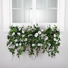 Faux Outdoor Bushes Artificial Morning Glory Flowers For Window Boxes Hooks U0026 Lattice