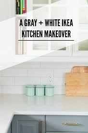 a gray and white ikea kitchen transformation subway tile