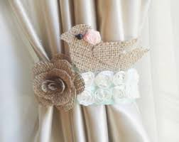 Tie Back Curtains Burlap Rose Curtain Tie Back Choose Your Size And Color