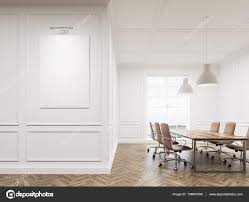 Large White Meeting Table Meeting Room Interior With White Walls Long Conference Table