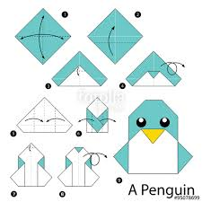Step By Step Origami For - step by step how to make origami penguin stock