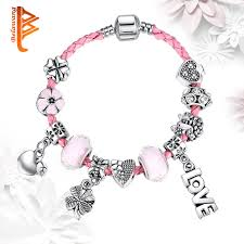 murano glass beads bracelet silver images Fashion sweet heart flower charms bracelet for women pink murano jpg