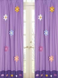 Magenta Curtain Panels Purple Kids Window Curtains Drapes Set Of 2 Panels Daisies Flowers