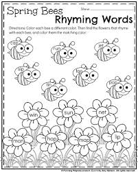 kindergarten worksheets for may rhyming words worksheets and
