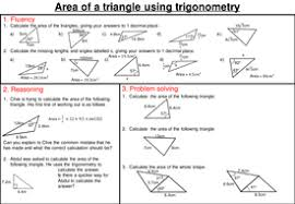 area of a triangle using trigonometry mastery worksheet by
