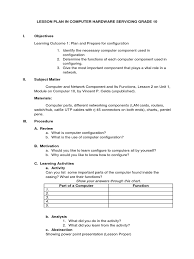 lesson plan in computer grade 10 final lesson plan educational