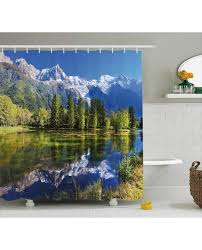 Outdoor Shower Curtains Shower Curtain Mountain Lake Evergreen Print For Bathroom