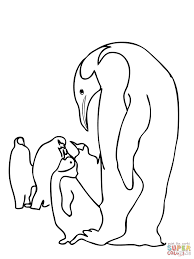 emperor penguins family coloring page free printable coloring pages