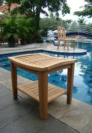 amazon com grade a teak wood shower bath room pool spa amazon com grade a teak wood shower bath room pool spa stool bench with shelf patio lawn garden