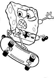spongebob in skateboard action coloring pages cartoon coloring