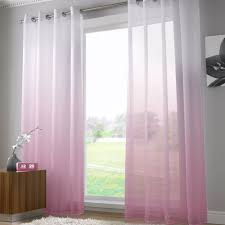 Shabby Chic Voile Curtains by Harmony Dusky Pink Voile Curtain Panel Ring Top Tonys