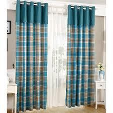 Grey Plaid Curtains Classic Blue Plaid Curtains Linen Fabric