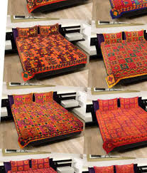 Buy Double Bed Sheets Online India Grj India Rajasthani Jaipuri Print 8 Double Bed Sheet With 16