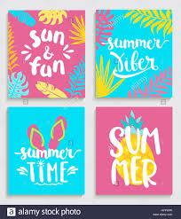 bright summer cards on colour background with tropical leaves