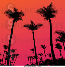 clipart of a silhouetted tropical palm trees against a gradient