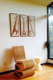mad men cat giraffe mid century modern eames era triptych art