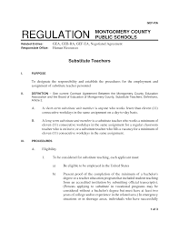 resume for substitute teaching position teacher contract template