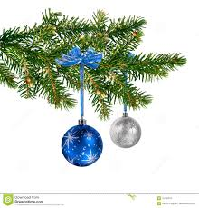 blue silver glass balls on tree stock photo image