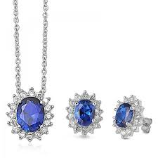 sapphire sterling silver necklace images Sterling silver blue sapphire earring and necklace set kriskate jpg