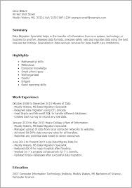 Science Resume Sample by Professional Data Migration Specialist Templates To Showcase Your