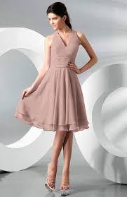 dusty rose simple a line halter zip up chiffon bridesmaid dresses