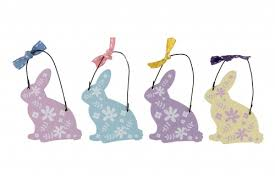 easter rabbits decorations set of wooden easter bunny home decorations
